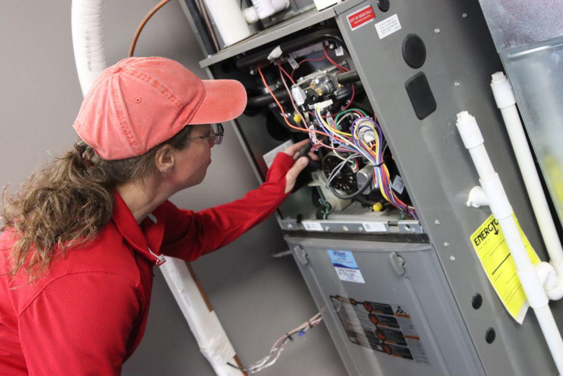 Working on HVAC system
